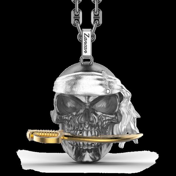 Collana Zancan in argento con pendente a teschio pirata.