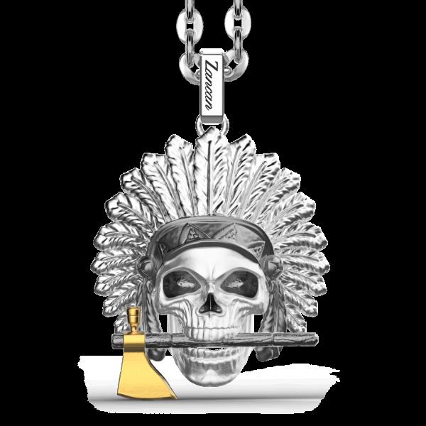 Collana Zancan in argento con pendente a teschio nativo americano.
