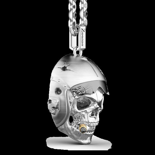 Collana Zancan in argento con pendente a teschio nativo aviatore.