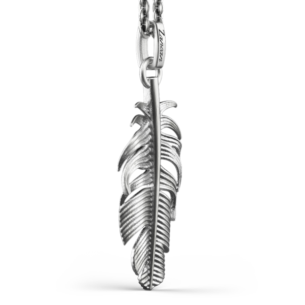 Collana Zancan in argento con pendente a piuma.