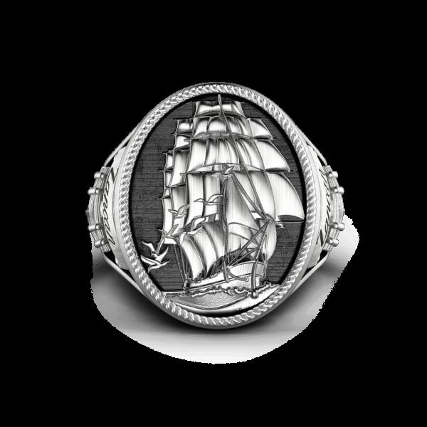 Anello Zancan in argento con finitura vintage.
