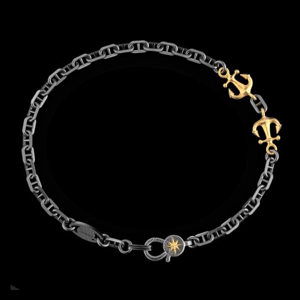 Bracciale Zancan in argento brunito con ancora.