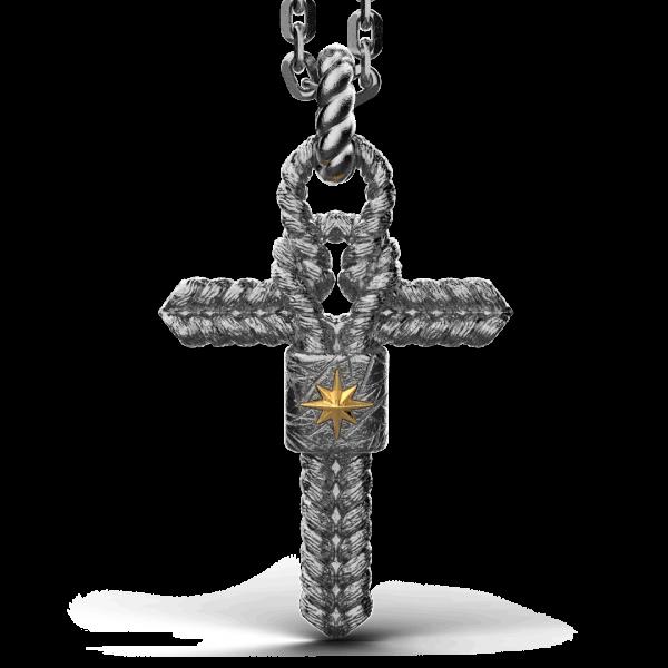 Collana Zancan in argento brunito con pendente a croce e nodo nautico.