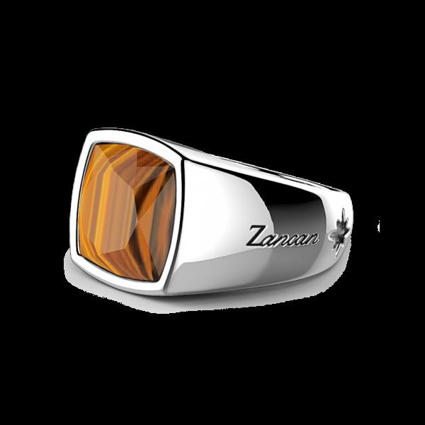 Anello Zancan in argento con pietra occhio di tigre.