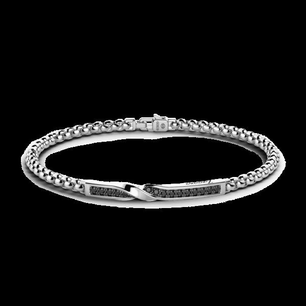 Bracciale Zancan in argento con targa e pietre nere