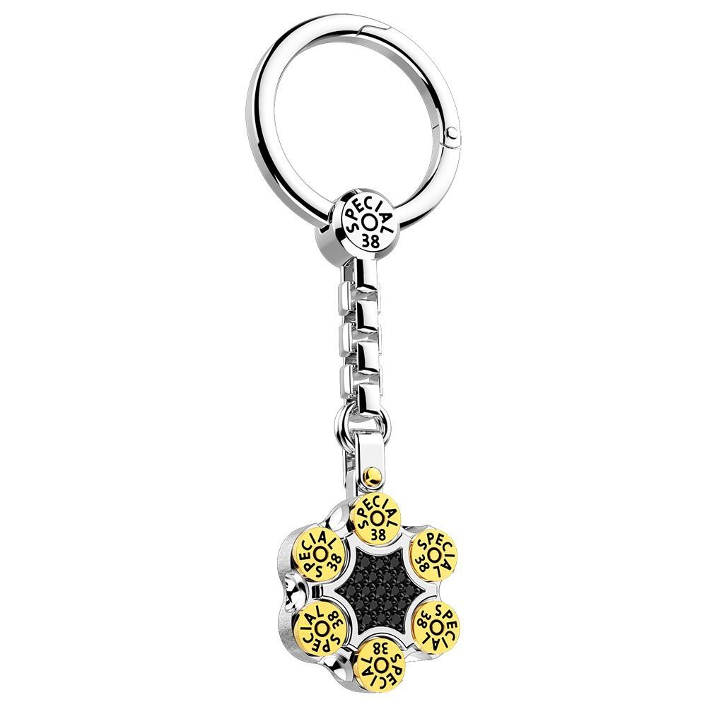 Silver keyholder with black spinels