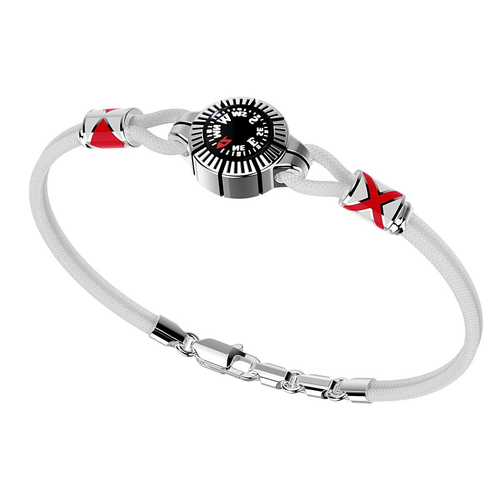 silver bracelt, red kevlar with black kompass and enamelled details