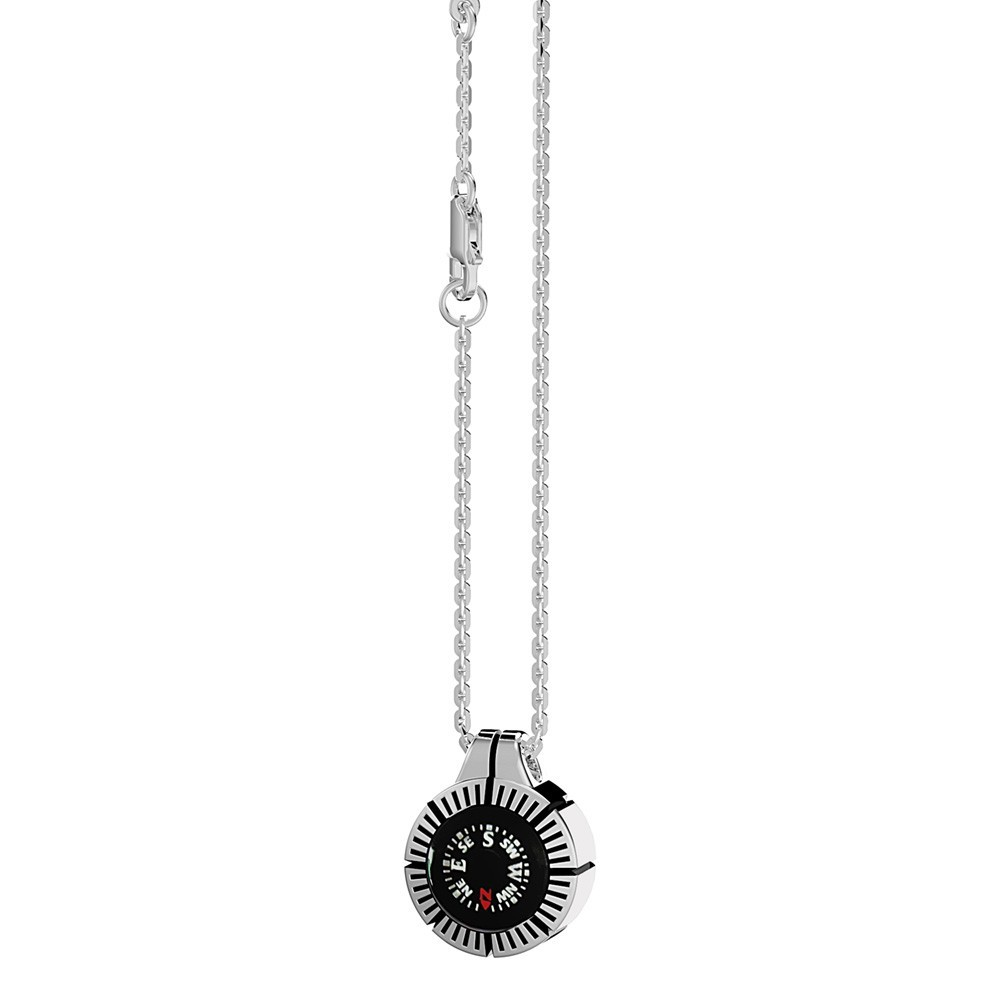 Silver necklace with black kompass