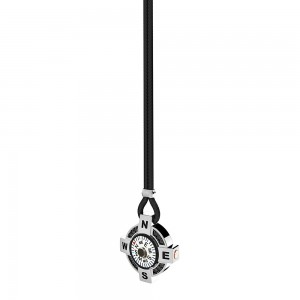 Collana in argento e kevlar nero con bussola su fondo bianco, spinelli neri e dettagli in oro rosa.