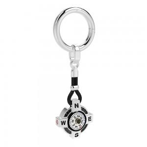 Portachiavi in argento con bussola su fondo bianco, kevlar nero, spinelli neri e dettagli in oro rosa.