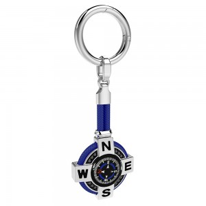 Silver keyholder with black kompass, blue kevlar and black spinels.